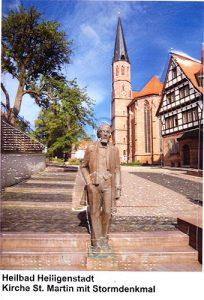 Ansichtskarte von Heilbad Heiligenstadt Motiv St. Martin und Stormdenkmal mit Umschlag, DIN A5, farbig